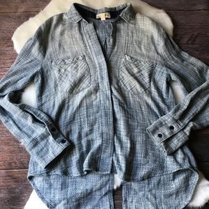 UO - Cloth & Stone Chambray Shirt Split Hem Sz Sm